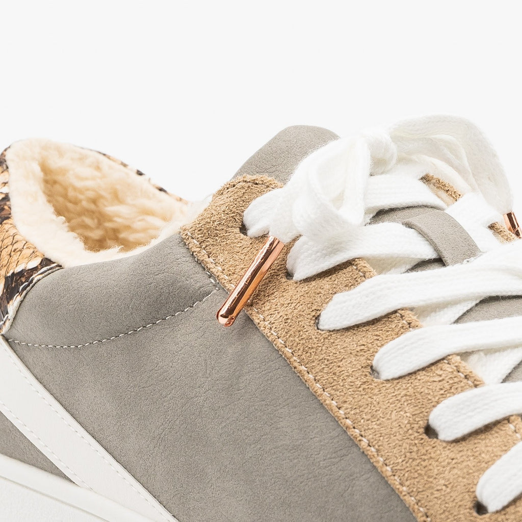 Womens Street Style Faux Sherpa Lined Sneakers - Nature Breeze