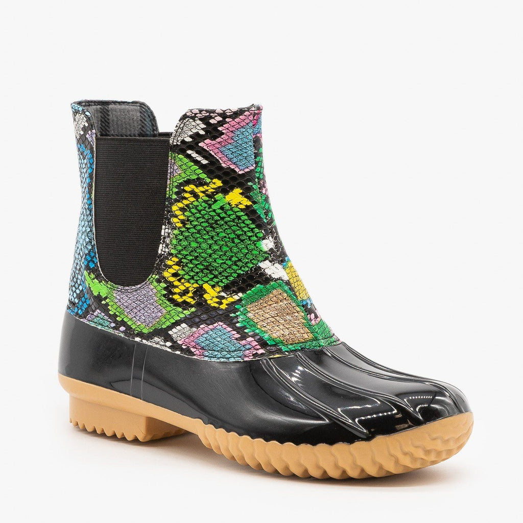 Womens Street Style Snake Print Duck Boots - Nature Breeze