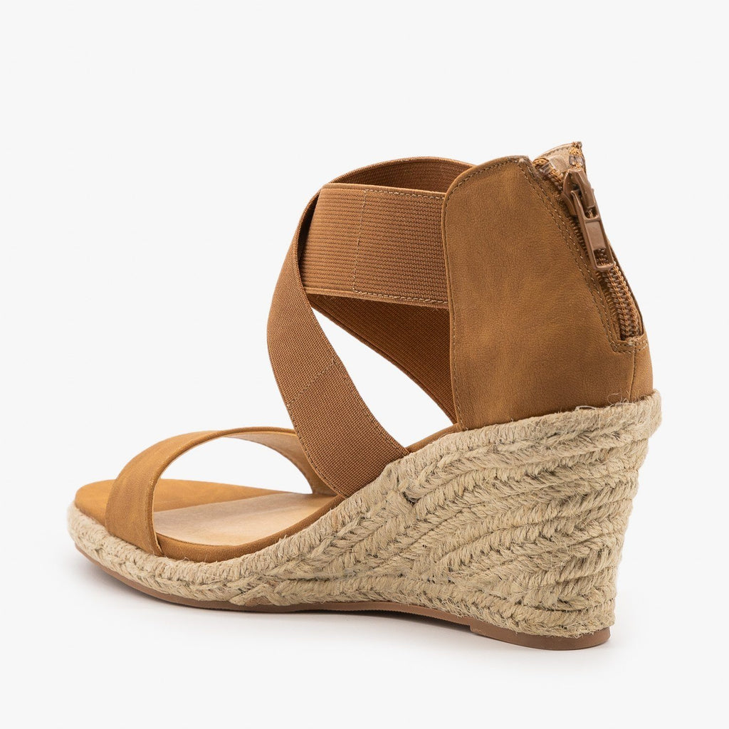 Womens Stretchy Criss Cross Espadrille Wedges - Soda Shoes