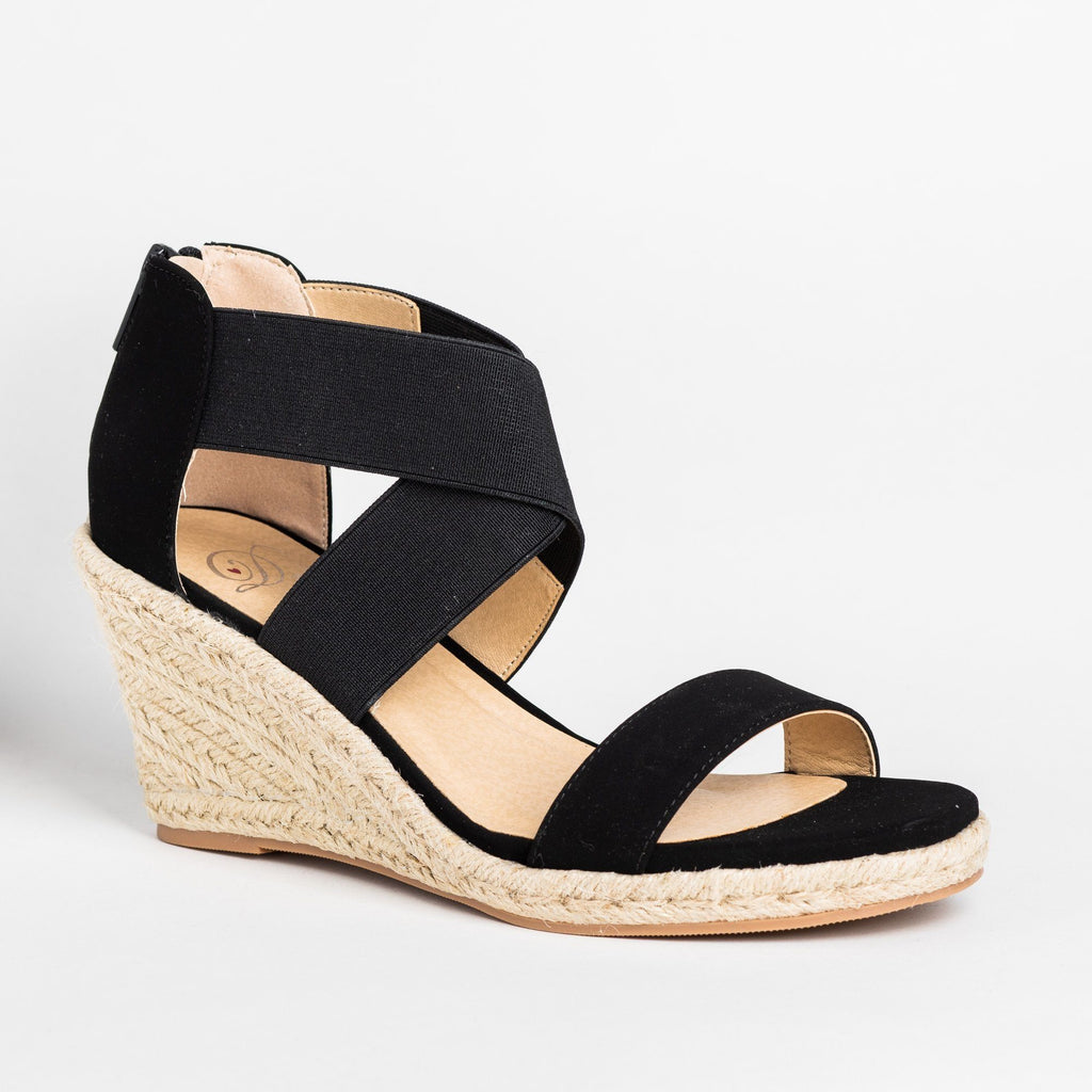 Womens Stretchy Criss Cross Espadrille Wedges - Soda Shoes - Black / 5
