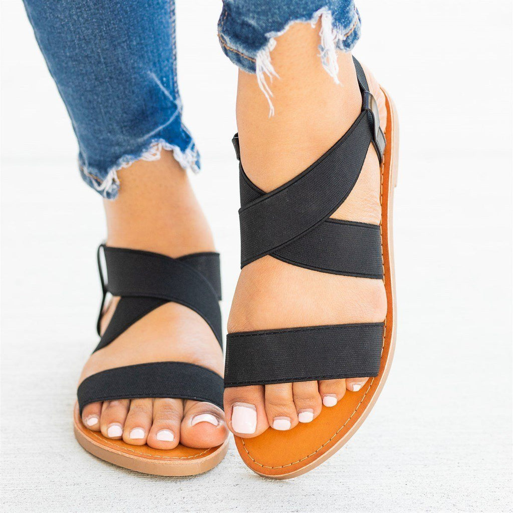 Womens Stretchy Criss Cross Summer Sandals - Soho Girls