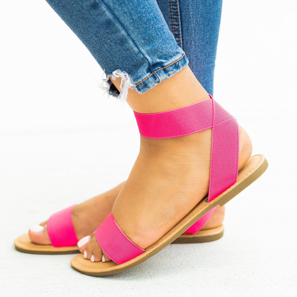 Womens Stretchy Elastic Strap Sandals - Sunny Feet
