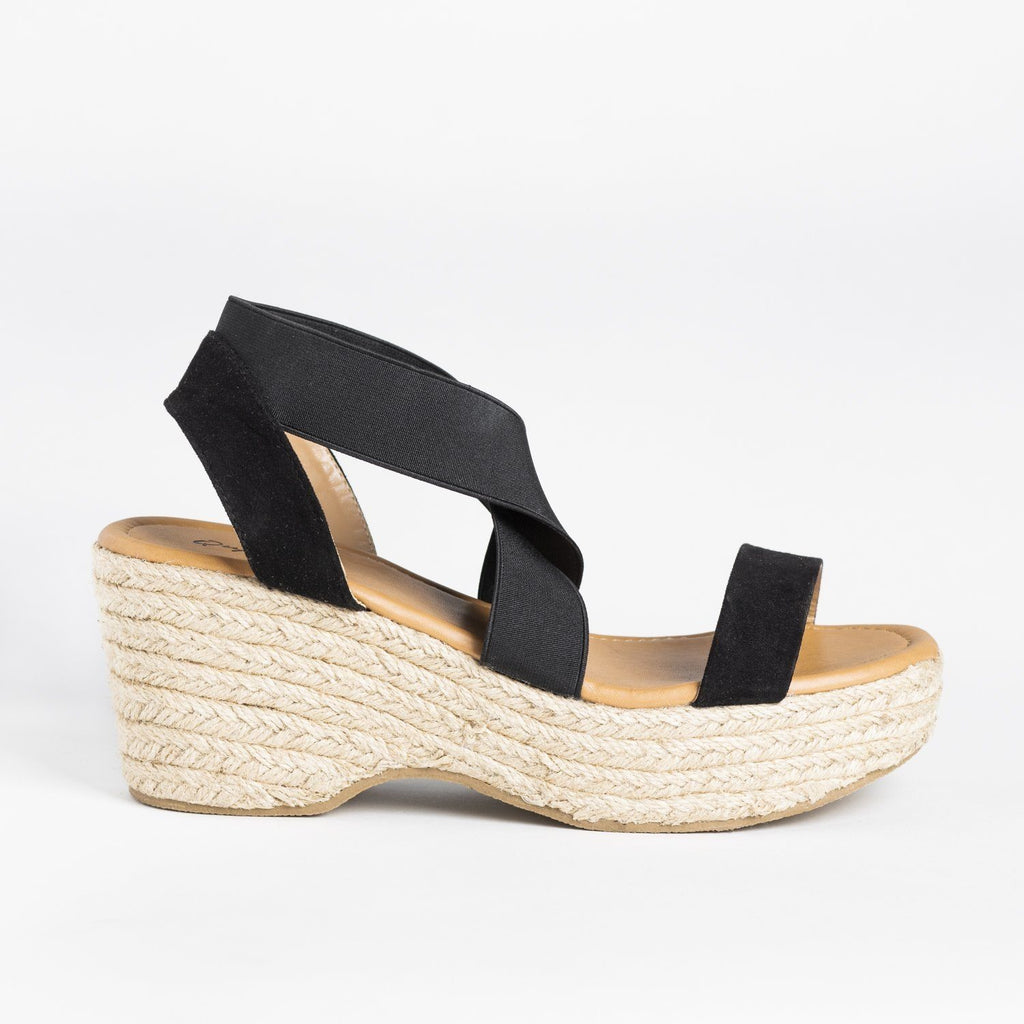 Womens Stretchy Strap Espadrille Sandal Wedges - Qupid Shoes - Black / 5