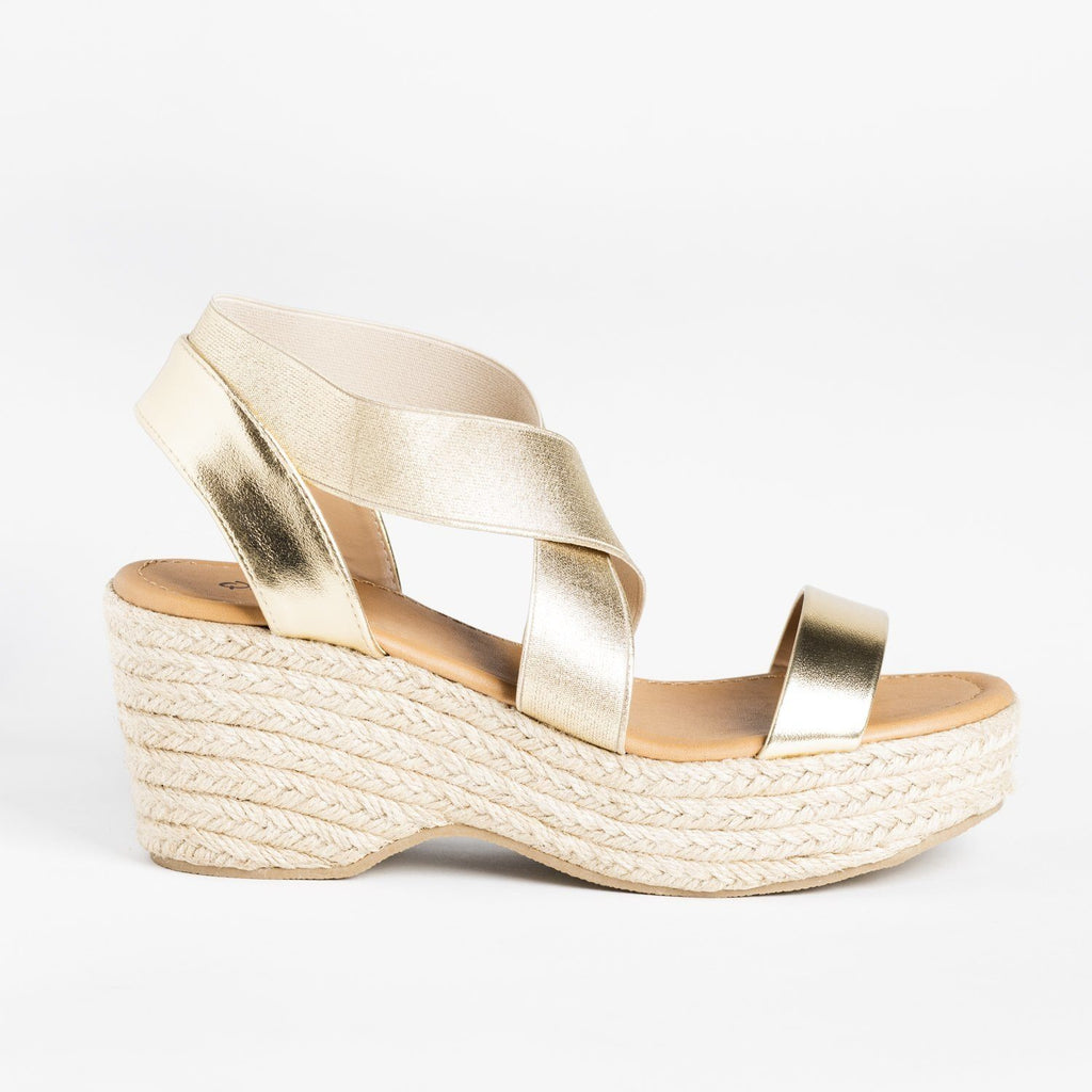 Womens Stretchy Strap Espadrille Sandal Wedges - Qupid Shoes - Gold / 5
