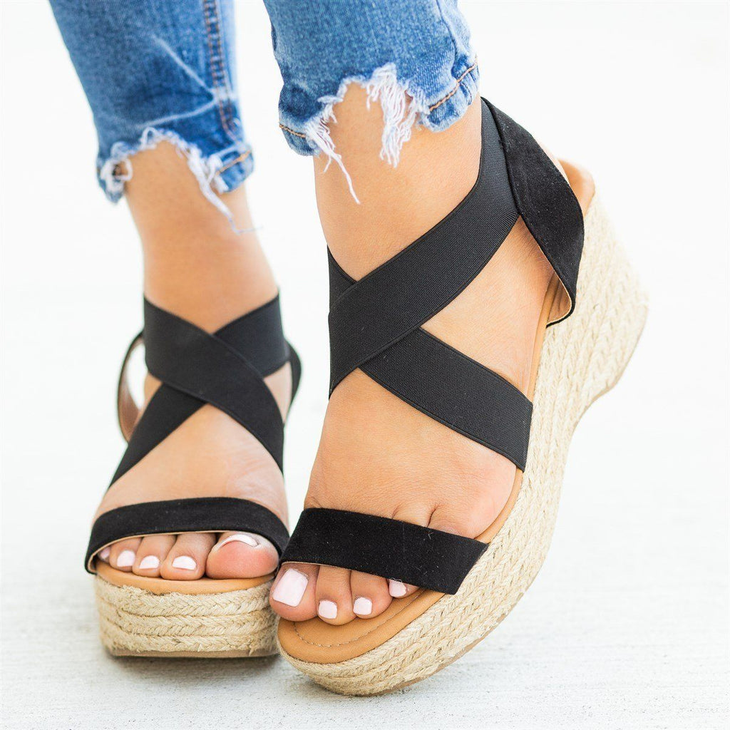 Womens Stretchy Strap Espadrille Sandal Wedges - Qupid Shoes