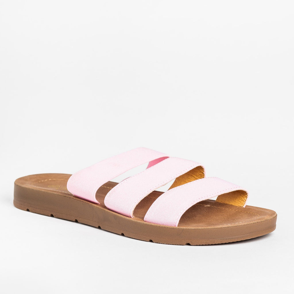 Womens Stretchy Triple Strap Sandals - Forever - Pink / 5