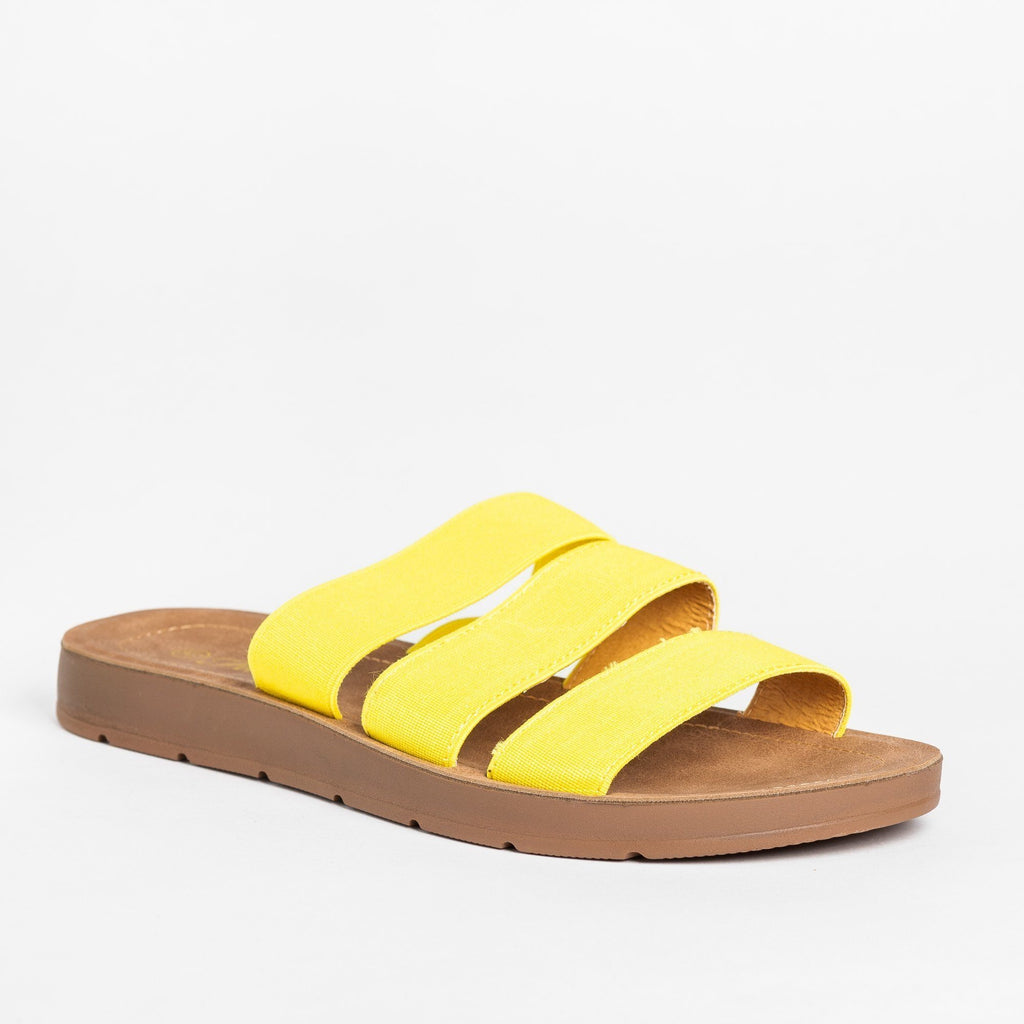 Womens Stretchy Triple Strap Sandals - Forever - Yellow / 5
