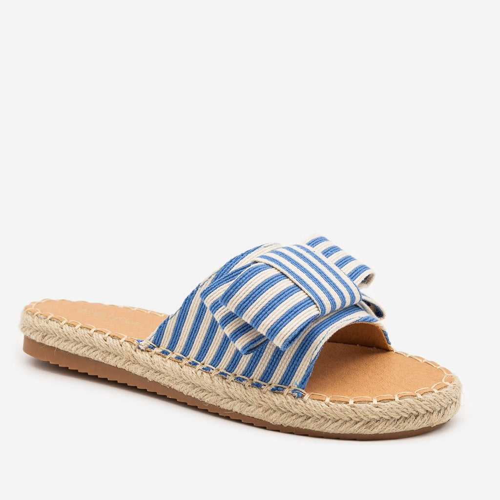 Women's Striped Bow Espadrille Sandals - Bella Marie - Blue / 5