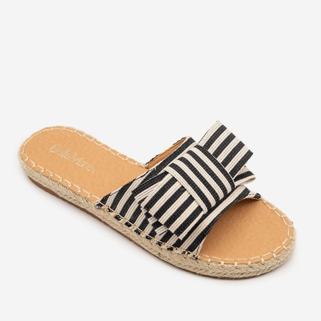 Women's Striped Bow Espadrille Sandals - Bella Marie