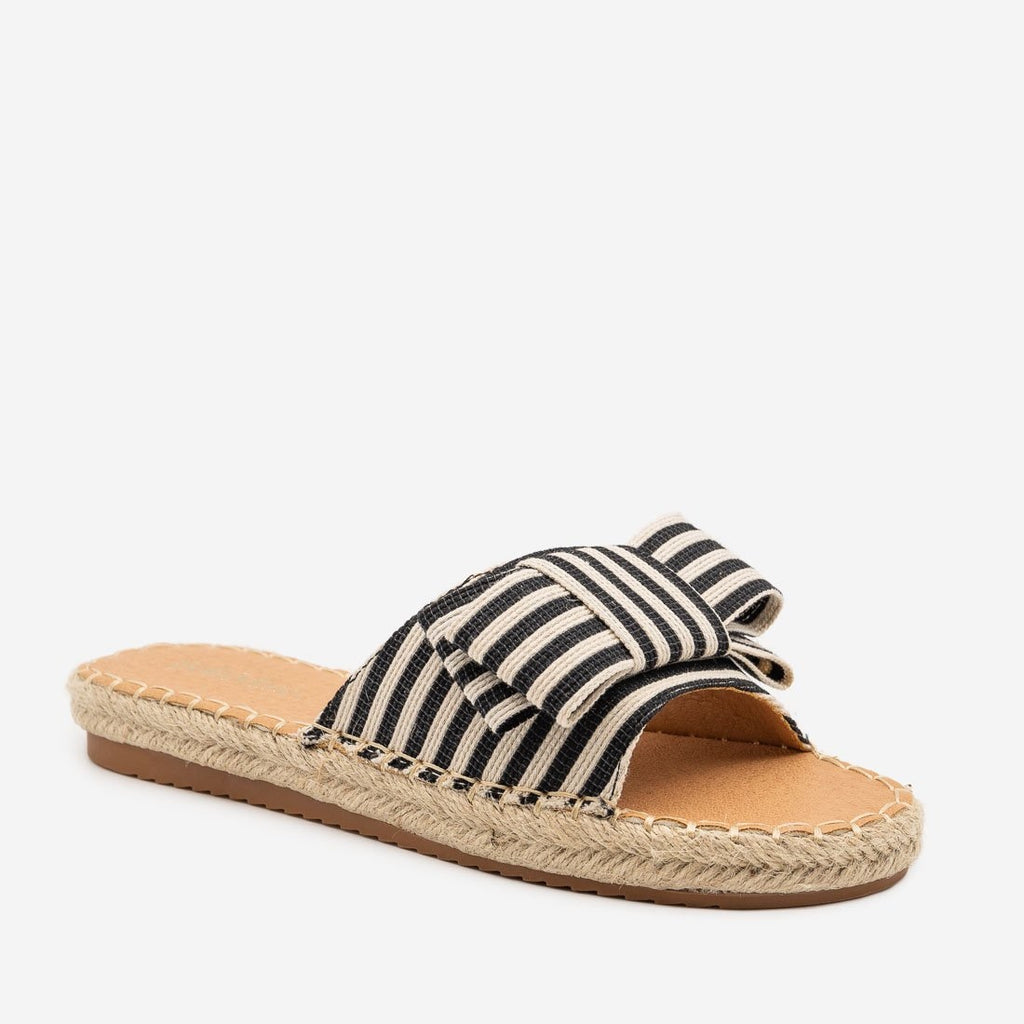 Women's Striped Bow Espadrille Sandals - Bella Marie - Black / 5