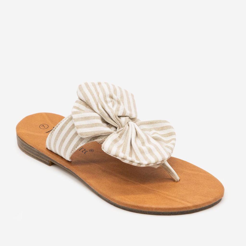 Women's Striped Bow Sandals - Nature Breeze - Beige / 5
