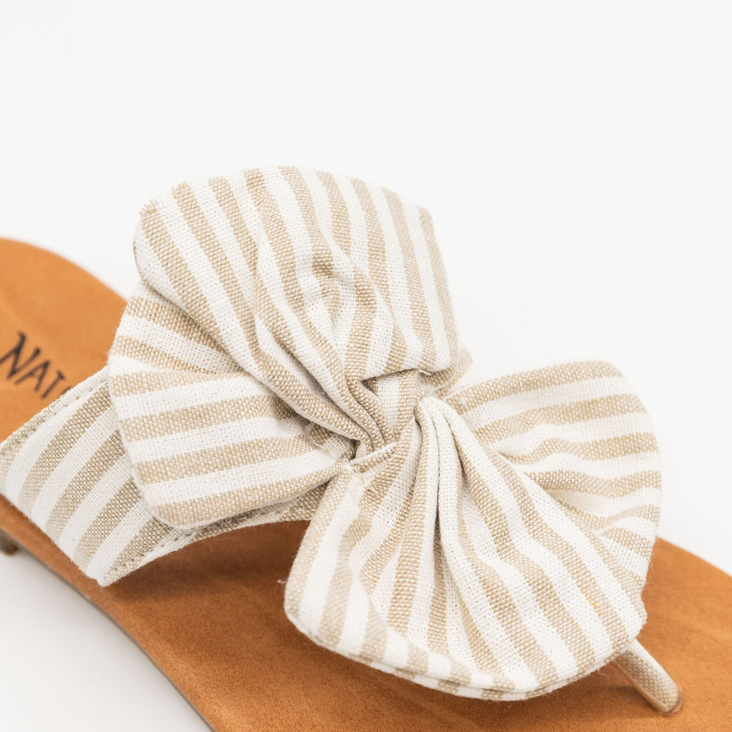 Women's Striped Bow Sandals - Nature Breeze