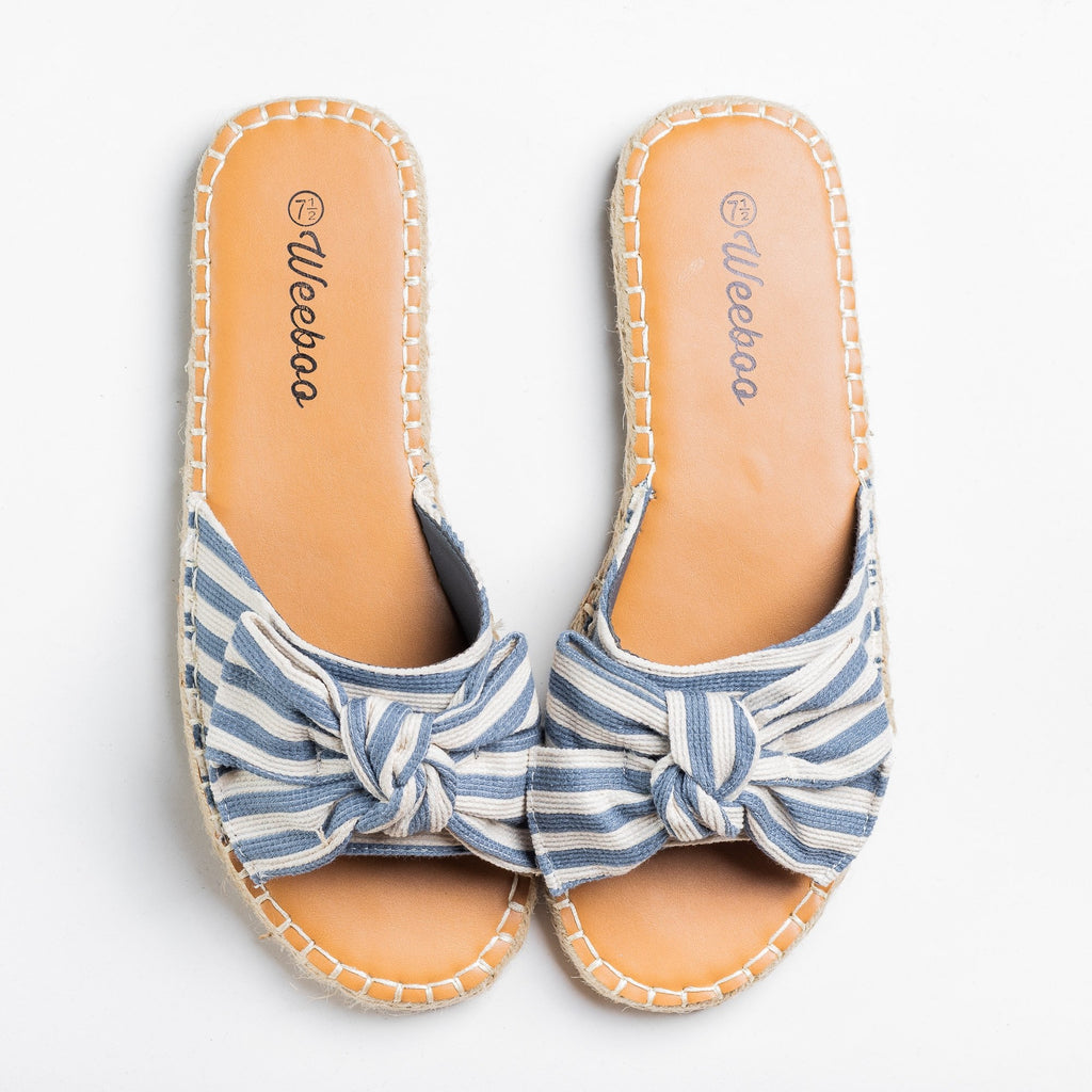 Womens Striped Bow Tie Espadrille Sandals - Weeboo - Blue / 5