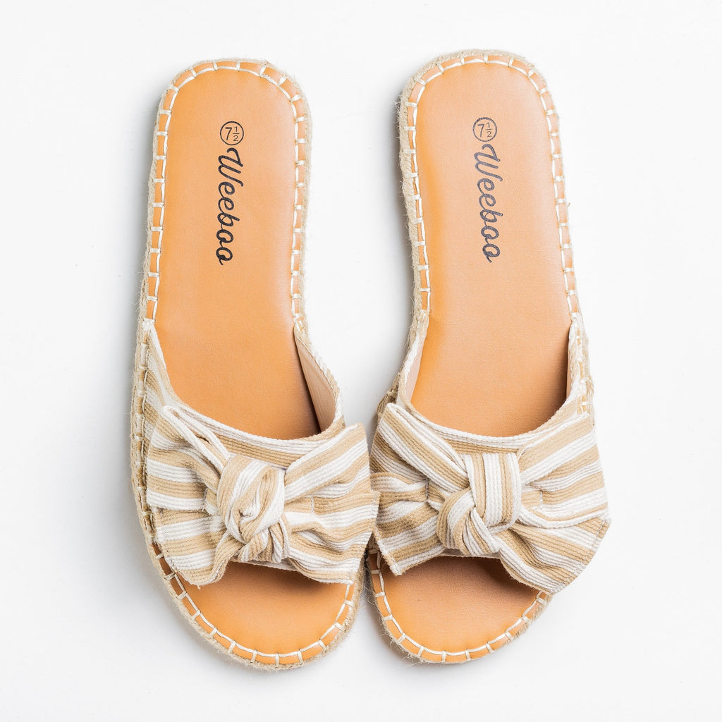 Womens Striped Bow Tie Espadrille Sandals - Weeboo - Beige / 5