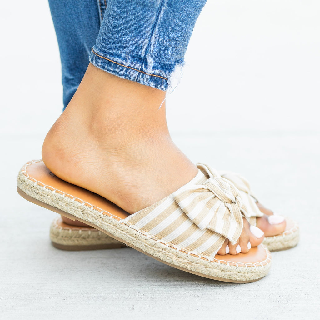 Womens Striped Bow Tie Espadrille Sandals - Weeboo