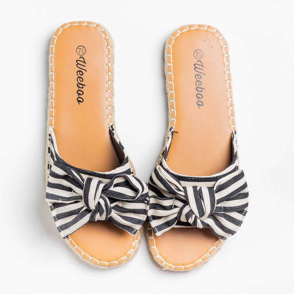 Womens Striped Bow Tie Espadrille Sandals - Weeboo - Black / 5