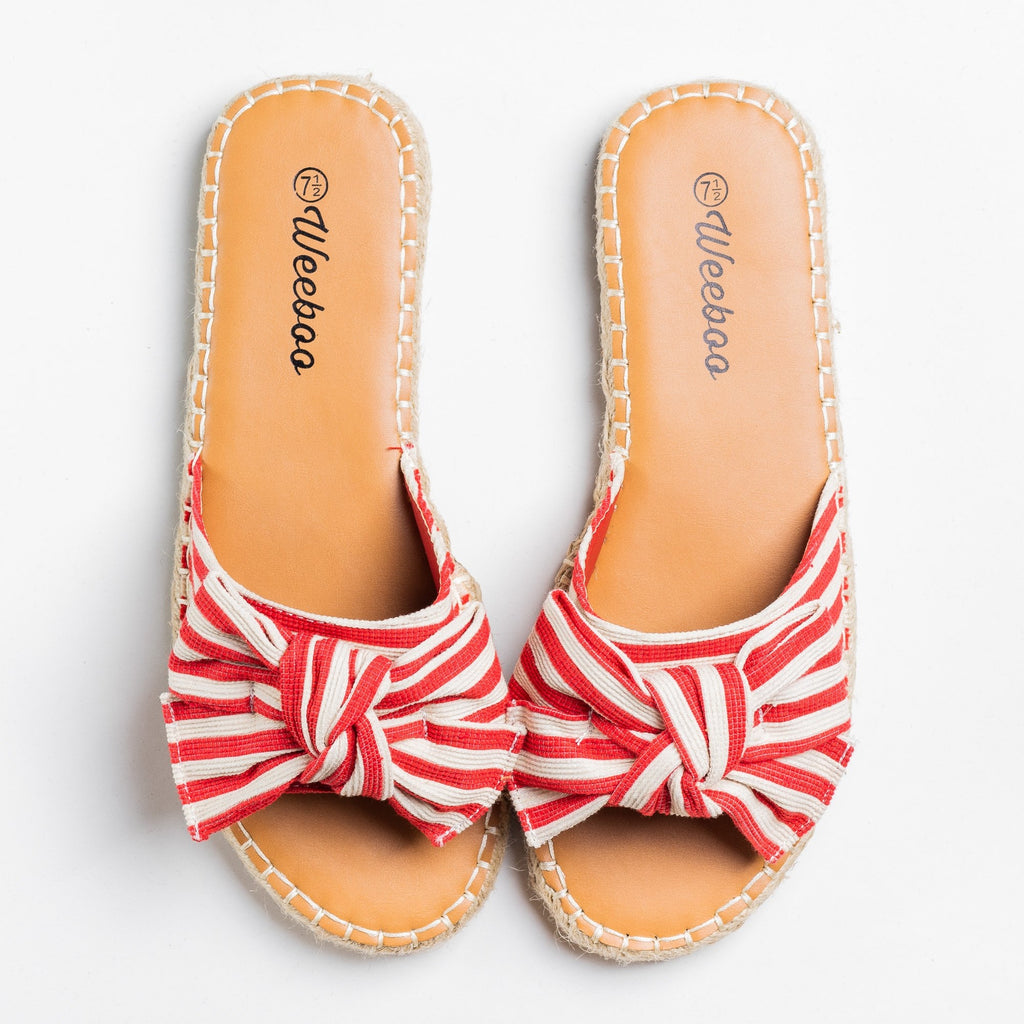 Womens Striped Bow Tie Espadrille Sandals - Weeboo - Red / 5