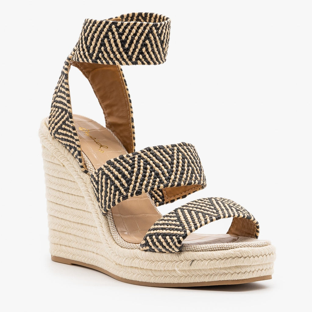 Womens Striped Elastic Espadrille Wedges - Qupid Shoes