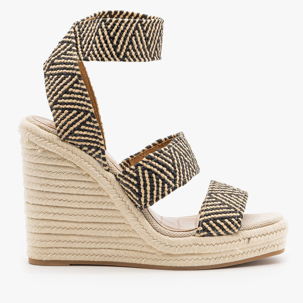 Womens Striped Elastic Espadrille Wedges - Qupid Shoes - Black Beige / 5