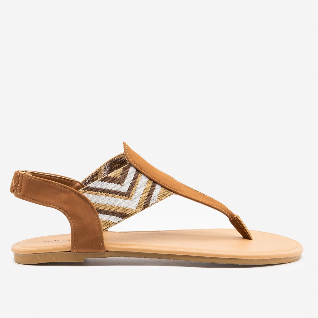 Women's Striped Elastic Slingback Sandals - Dollhouse Shoes - Chestnut / 5