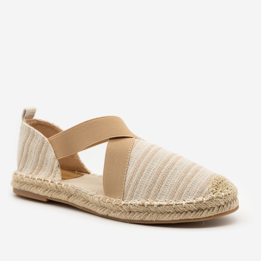 Women's Striped Espadrille Elastic Flats - Top Moda