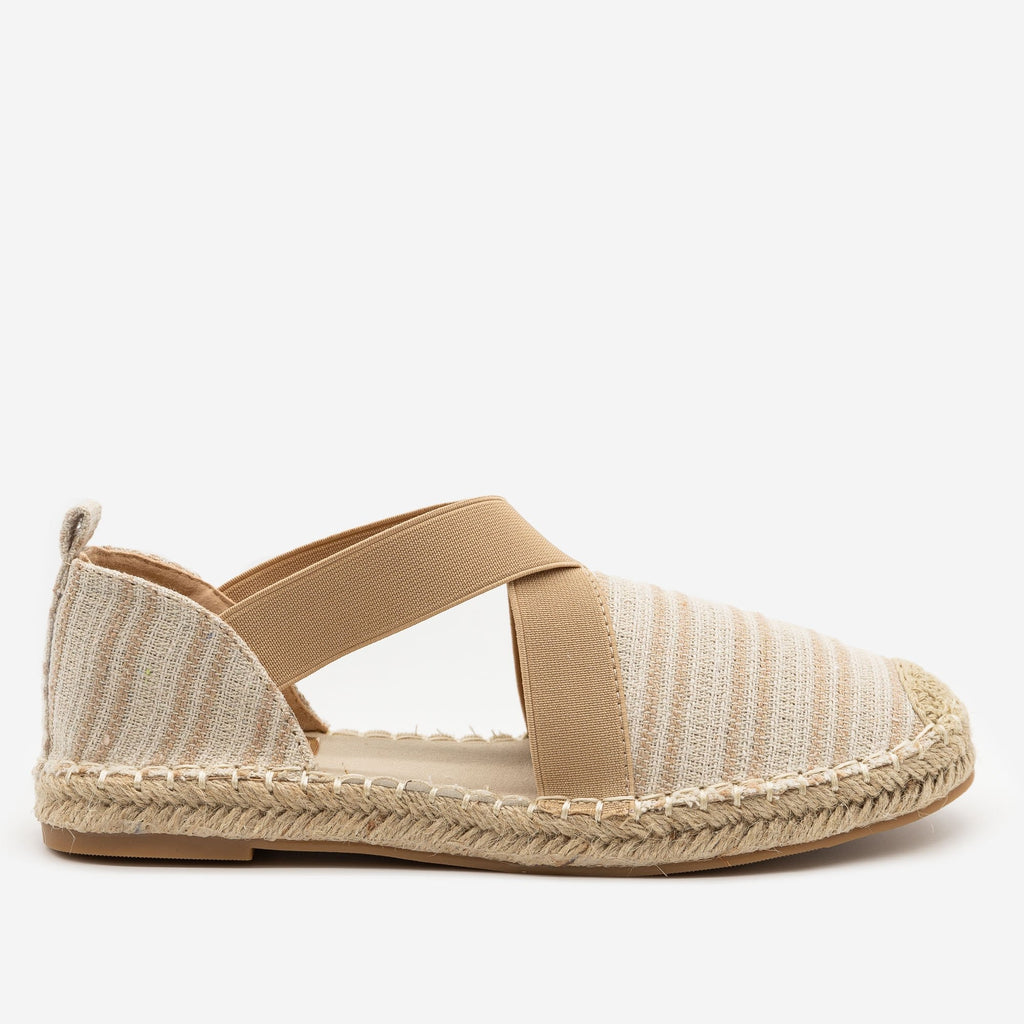 Women's Striped Espadrille Elastic Flats - Top Moda - Beige / 5