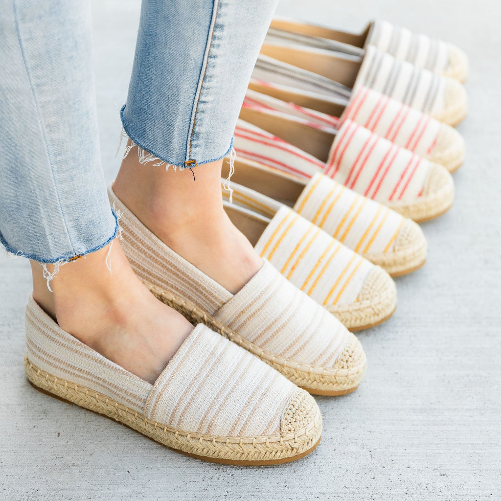 Women's Striped Espadrille Slip On Flats - Top Moda