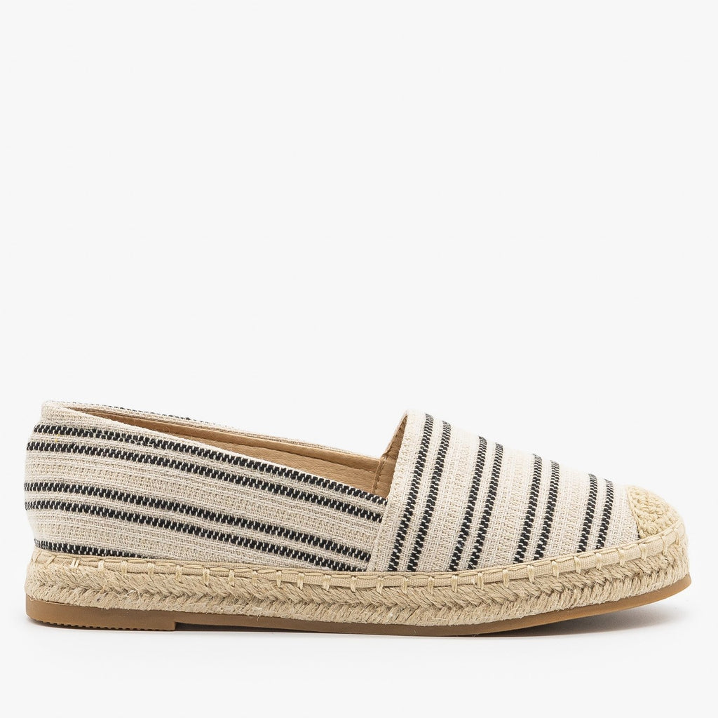 Womens Striped Espadrille Slip On Flats - Top Moda - Black / 5