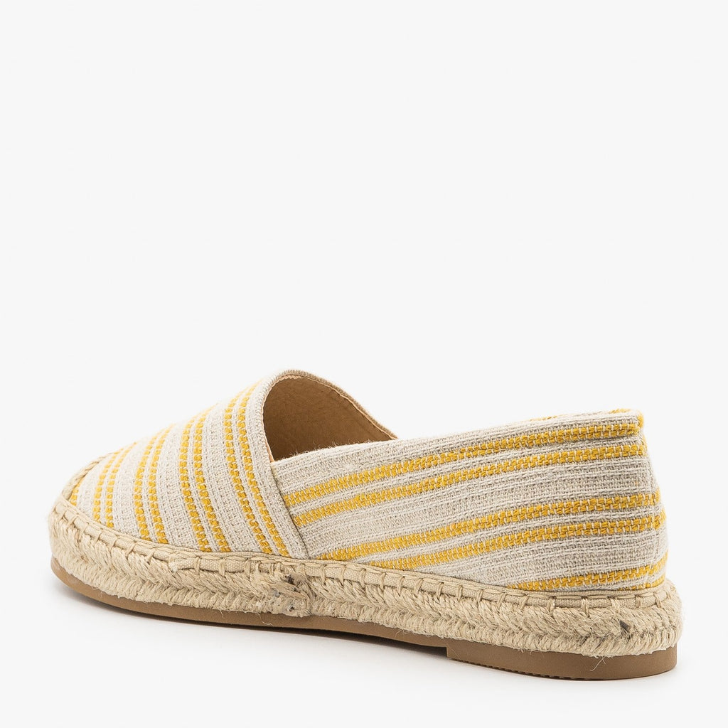 Womens Striped Espadrille Slip On Flats - Top Moda
