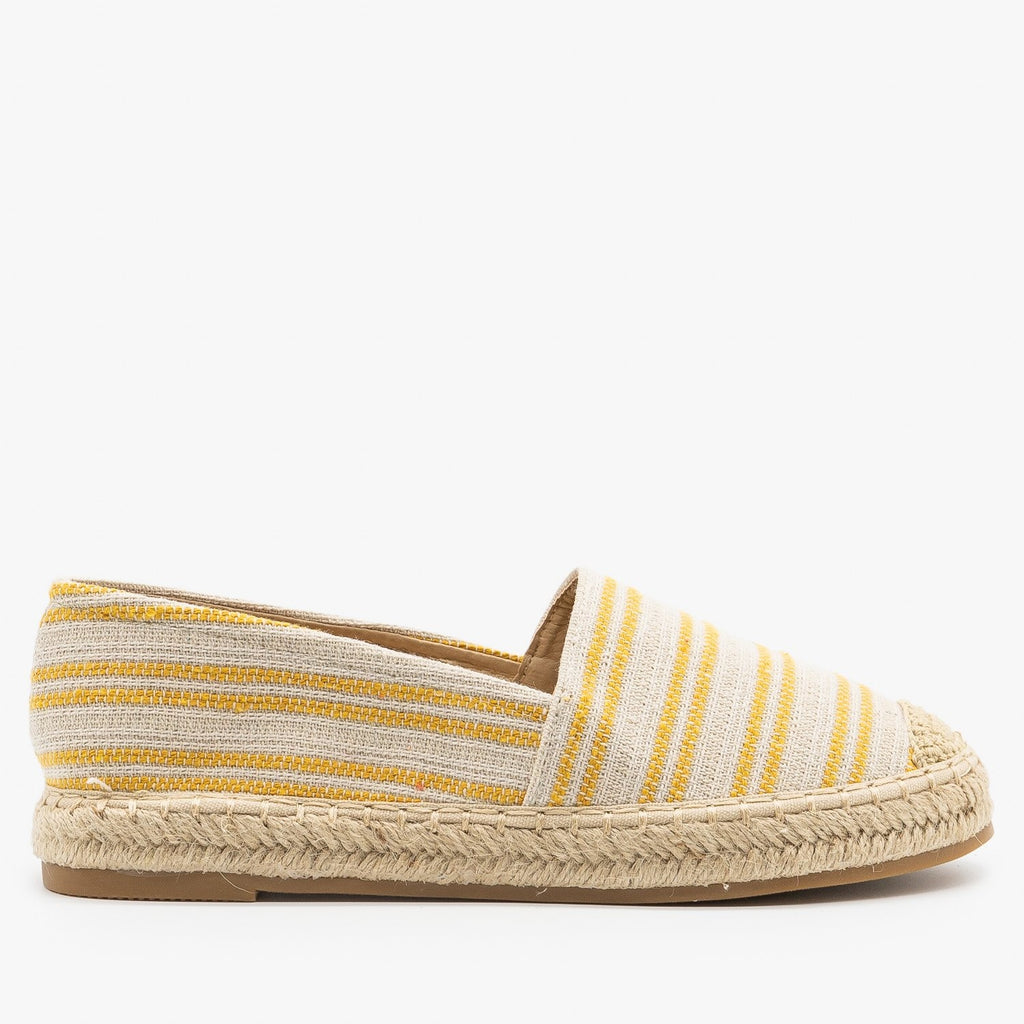 Womens Striped Espadrille Slip On Flats - Top Moda - Mustard Yellow / 5