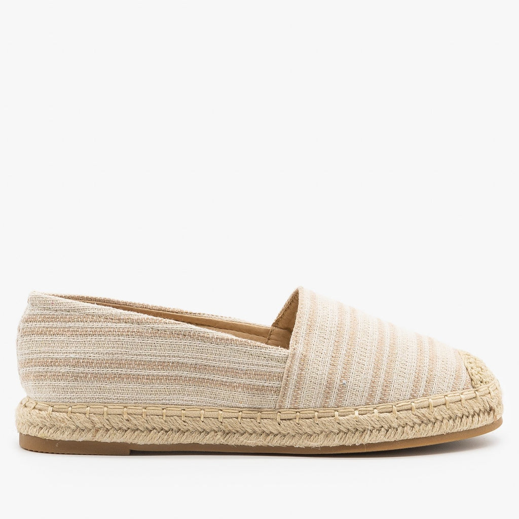 Womens Striped Espadrille Slip On Flats - Top Moda - Taupe / 5