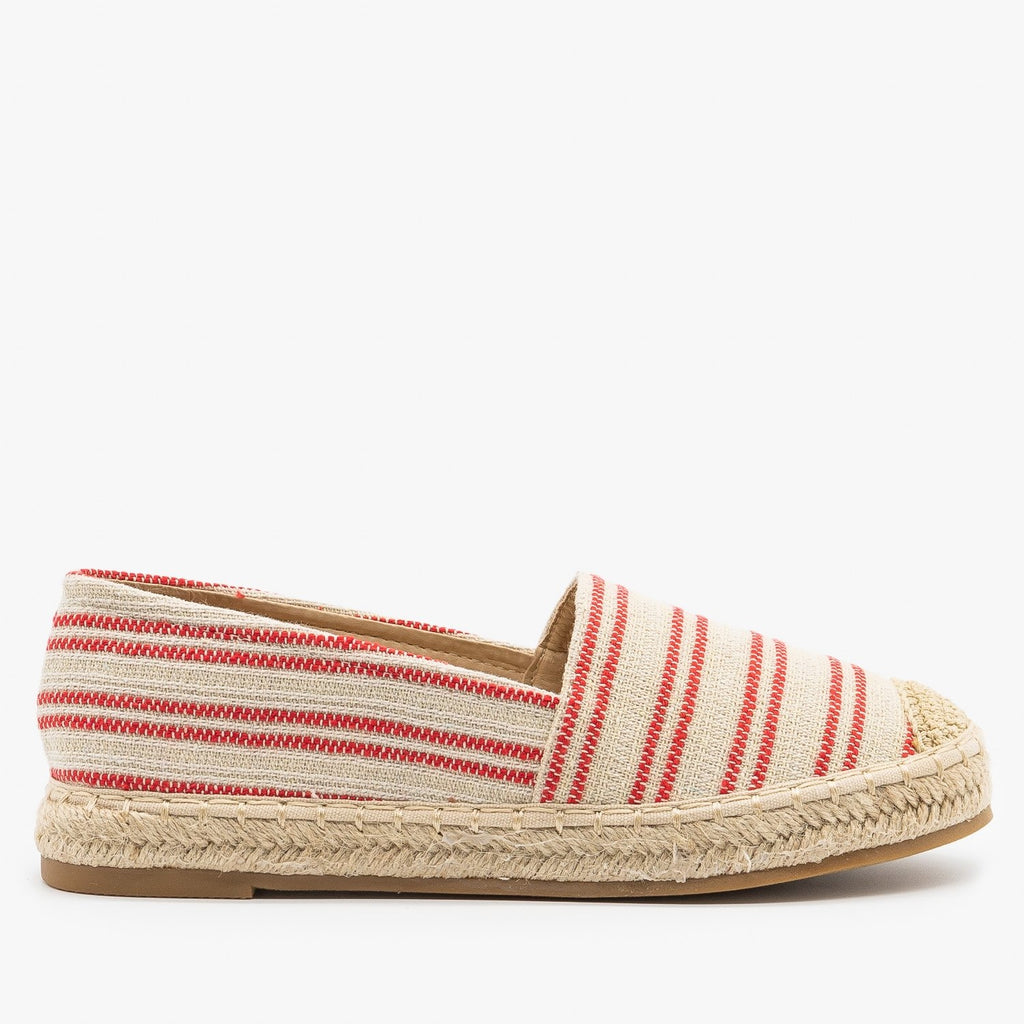 Womens Striped Espadrille Slip On Flats - Top Moda - Red / 5