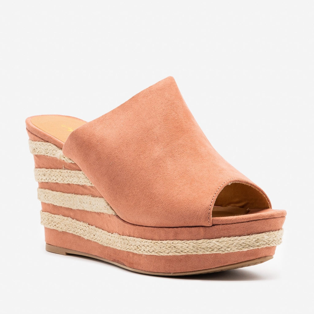 Women's Striped Heel Espadrille Wedges - Qupid Shoes