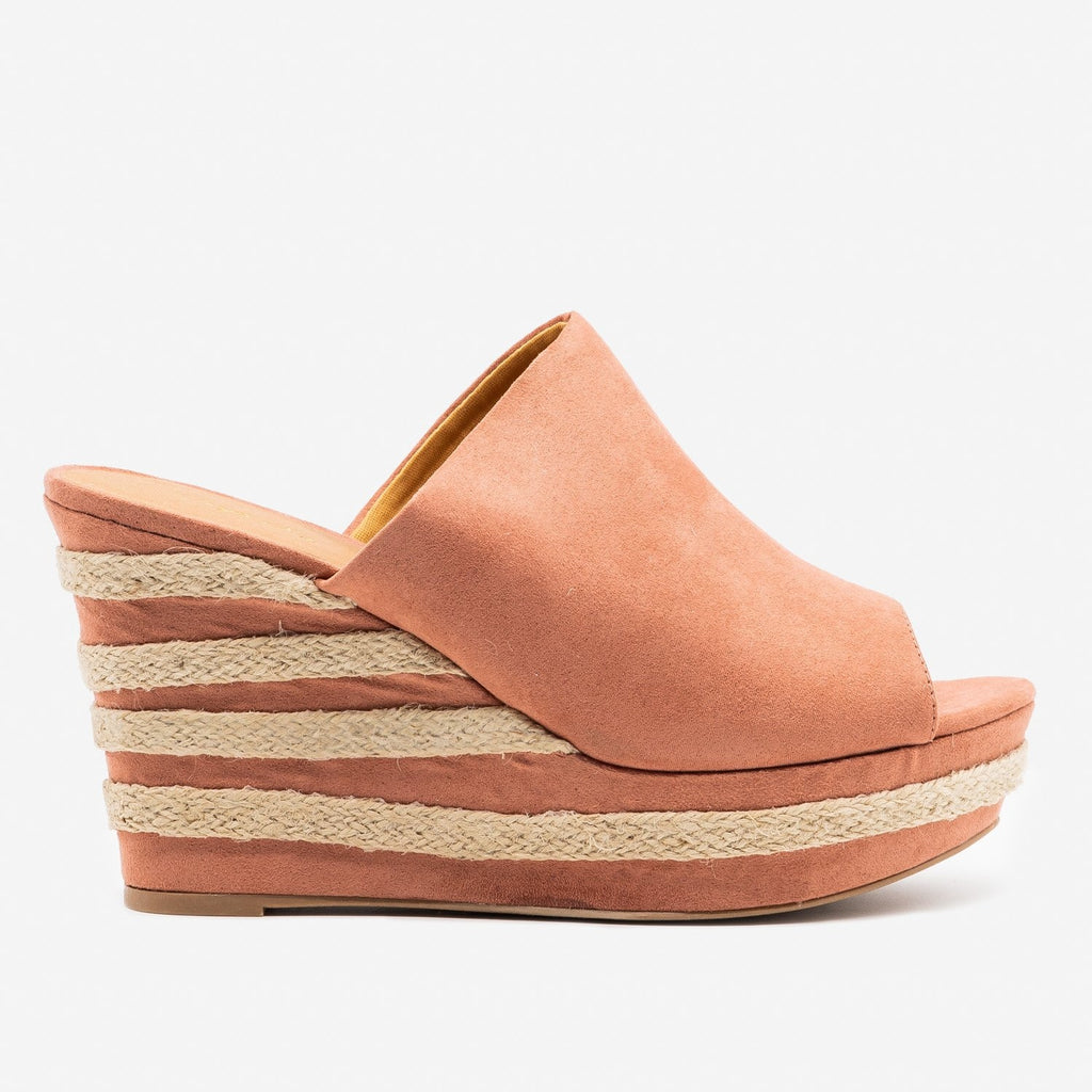 Women's Striped Heel Espadrille Wedges - Qupid Shoes - Dusty Blush / 5