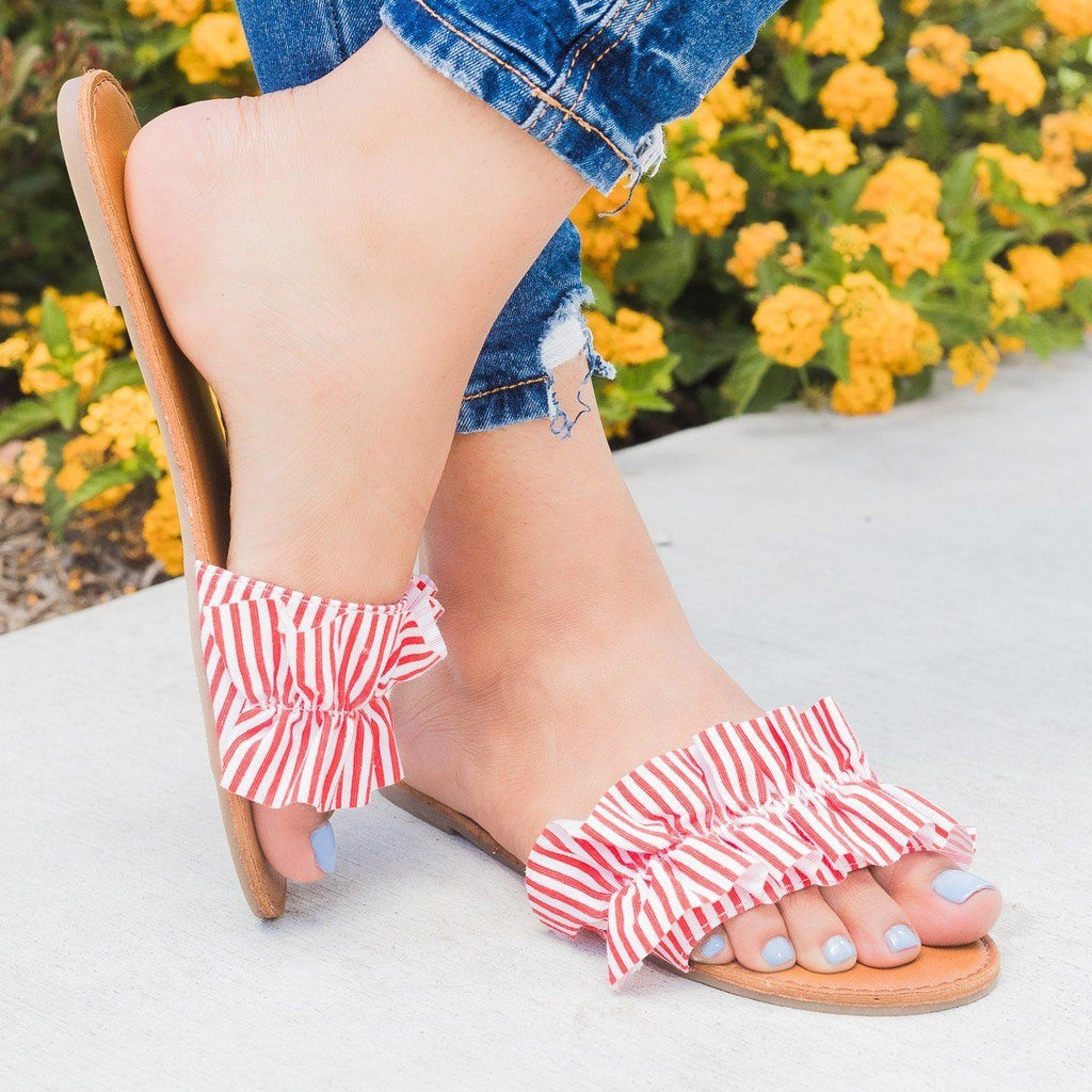 Womens Striped Ruffle Open Toe Slides - Bonnibel - Red / 10
