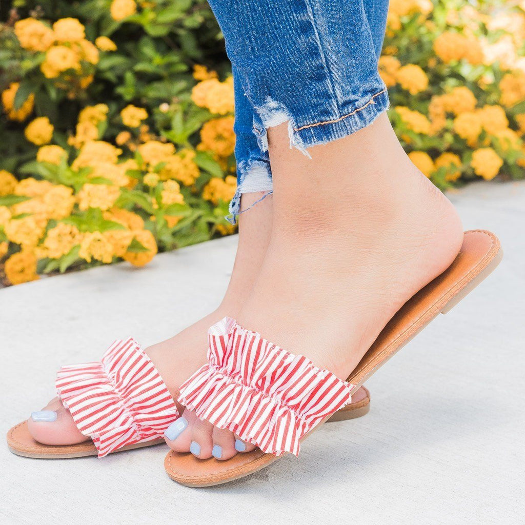 Womens Striped Ruffle Open Toe Slides - Bonnibel