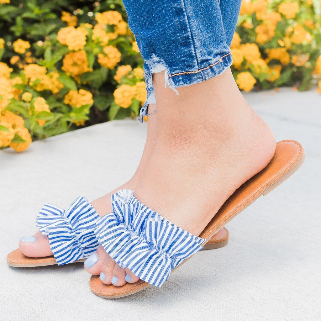 Womens Striped Ruffle Open Toe Slides - Bonnibel - Blue / 6