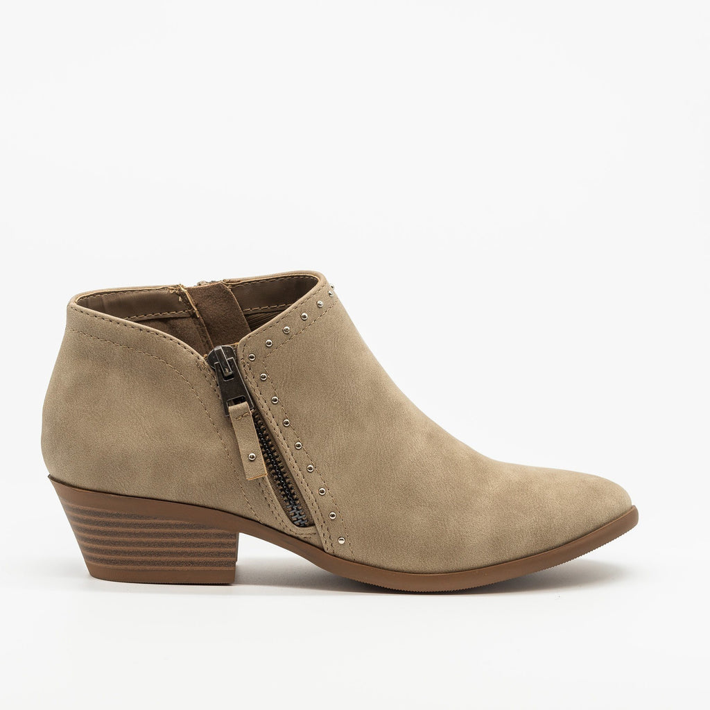 Womens Studded Accent Ankle Booties - Soda Shoes - Light Taupe / 5