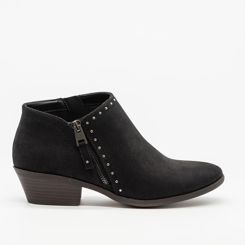 Womens Studded Accent Ankle Booties - Soda Shoes - Black / 5