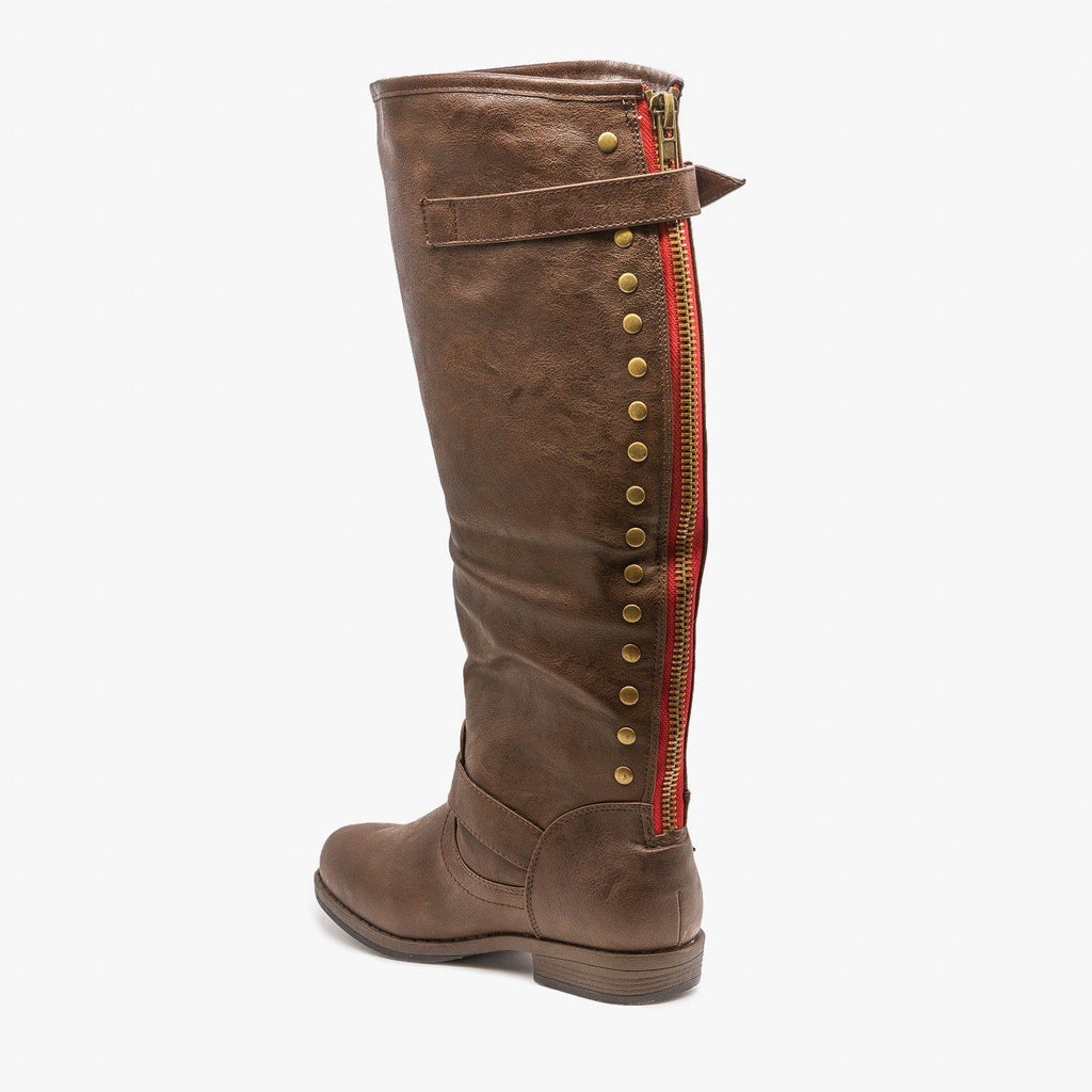 Womens Studded Accent Riding Boots - Refresh