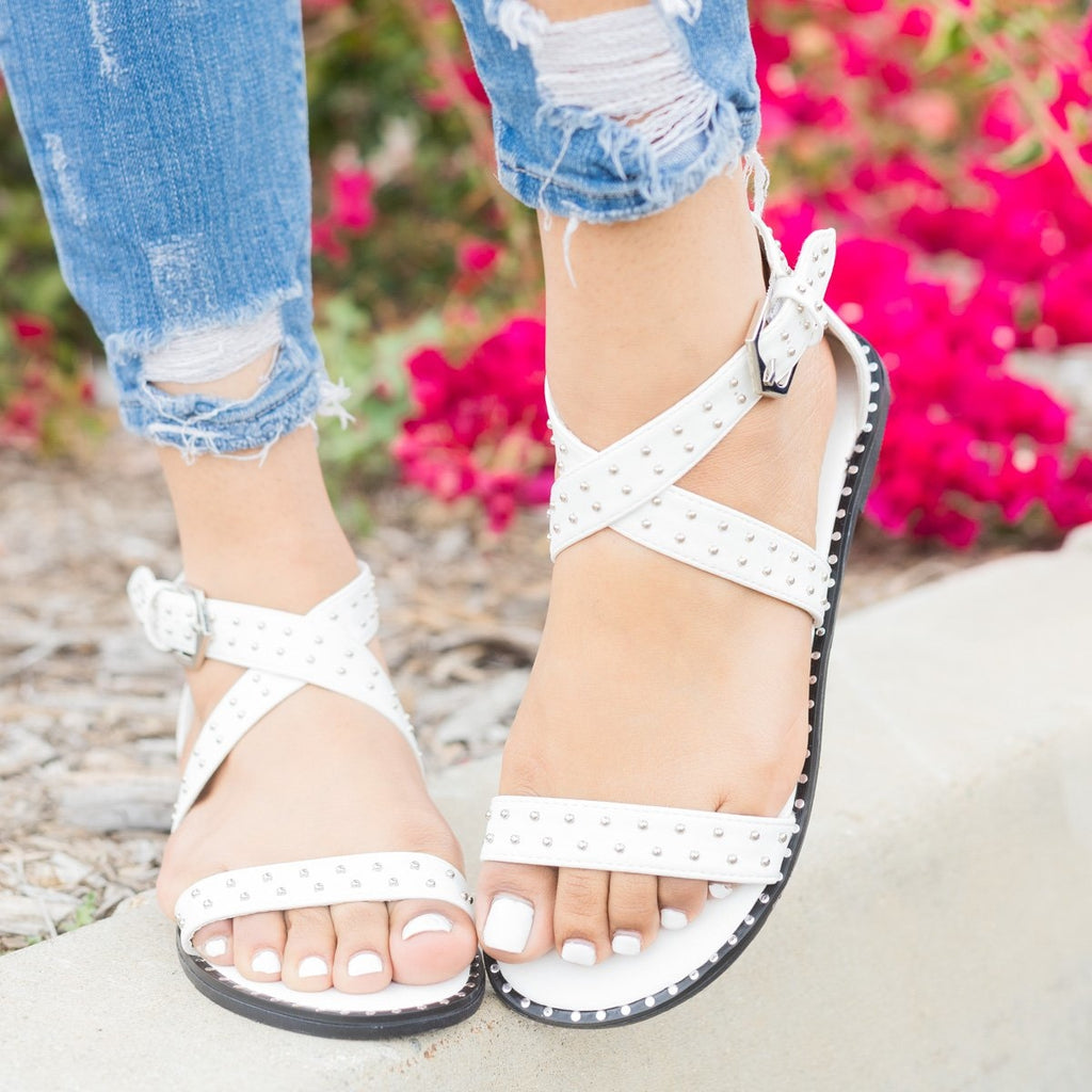 Womens Studded Criss Cross Sandals - Qupid Shoes - White / 5