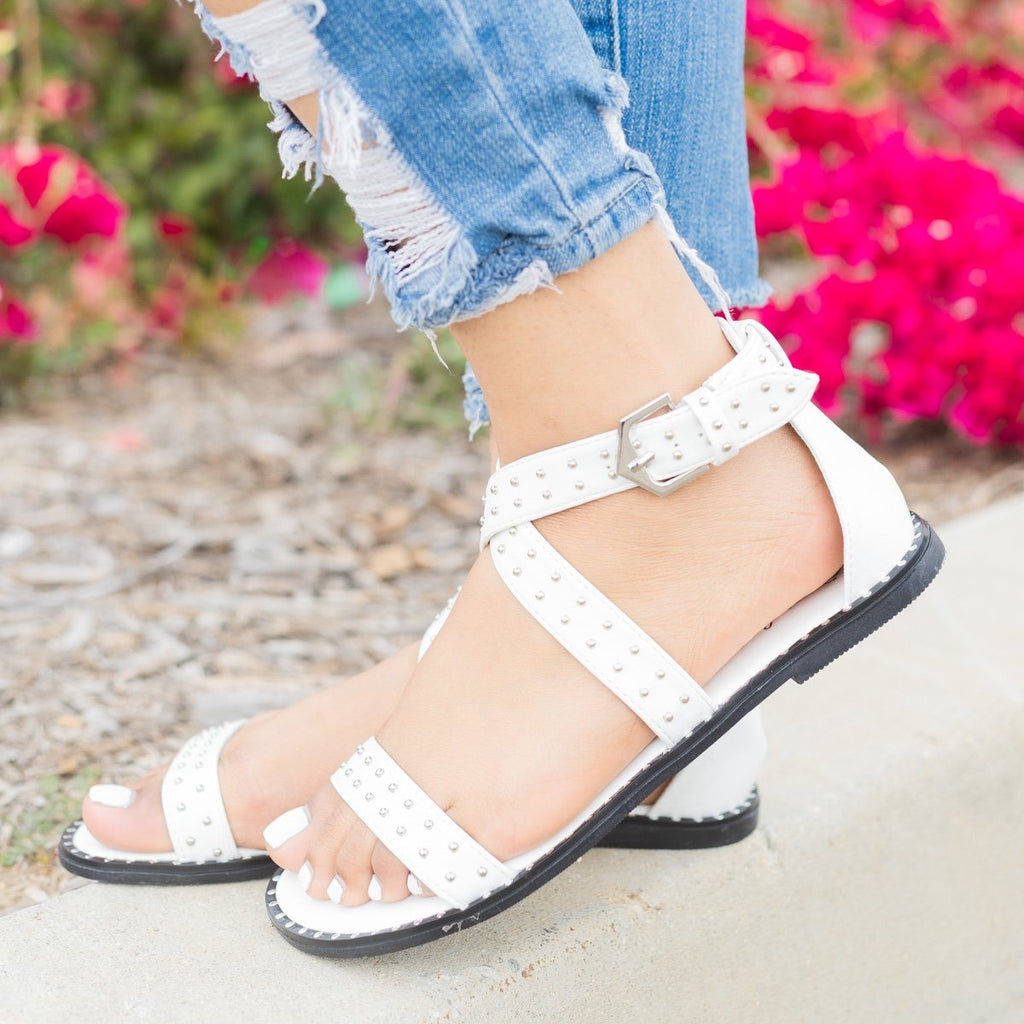 Womens Studded Criss Cross Sandals - Qupid Shoes