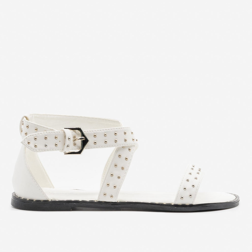Women's Studded Criss Cross Sandals - Qupid Shoes - White / 5