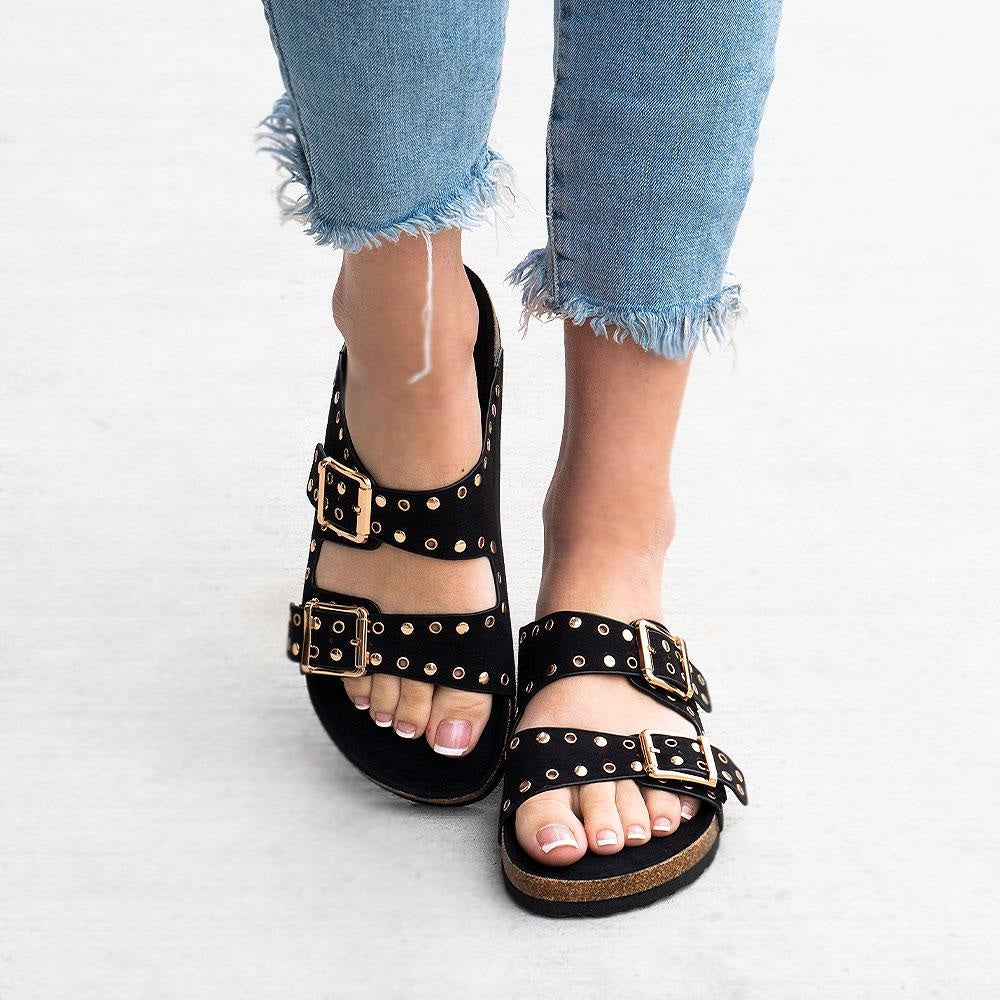 Women's Studded Double Strap Cork Sandal - Bamboo Shoes - Black / 5