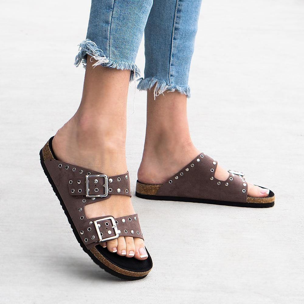 Women's Studded Double Strap Cork Sandal - Bamboo Shoes - Taupe / 5