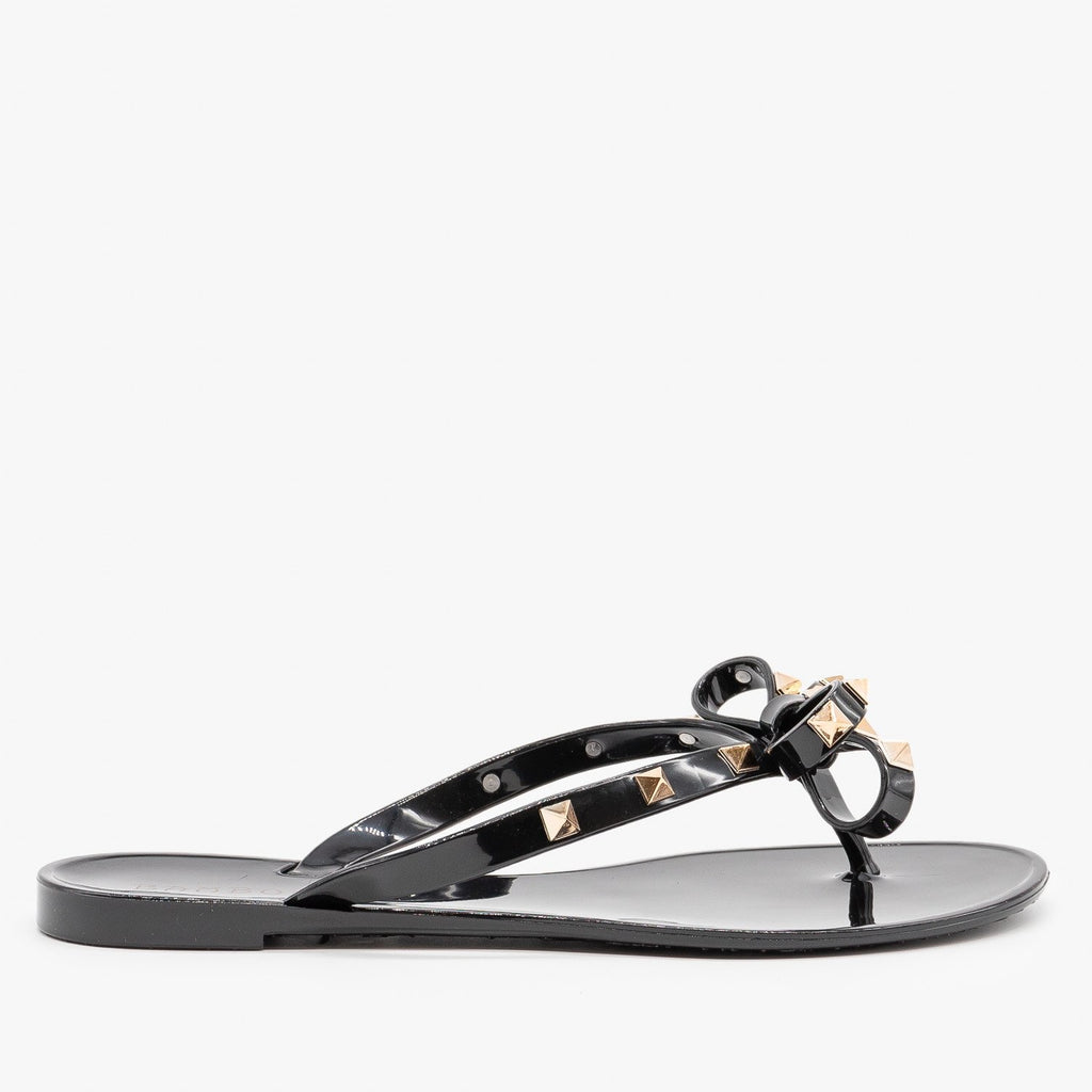 Womens Studded Flip Flop Sandals - Bamboo Shoes - Black / 5