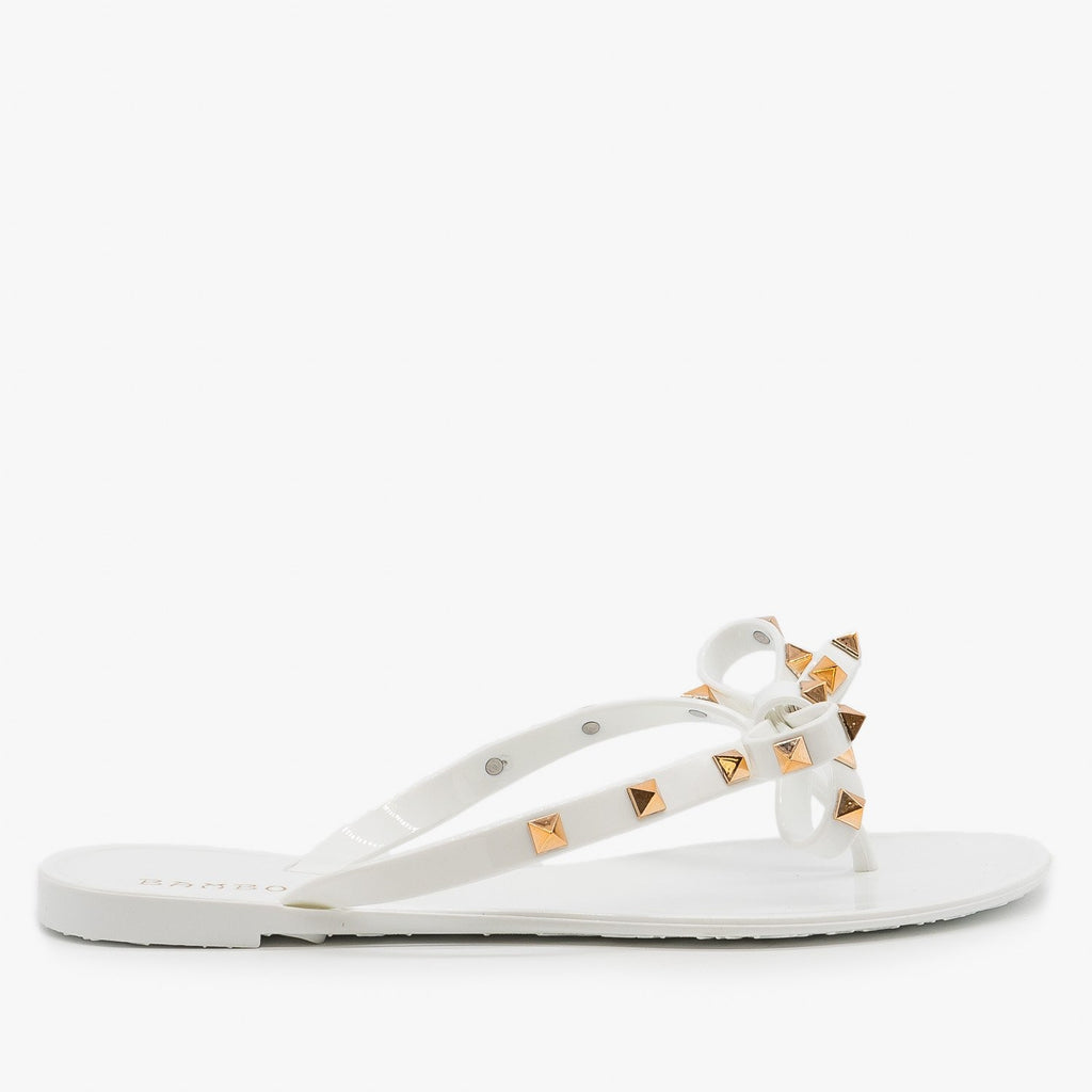 Womens Studded Flip Flop Sandals - Bamboo Shoes - White / 5