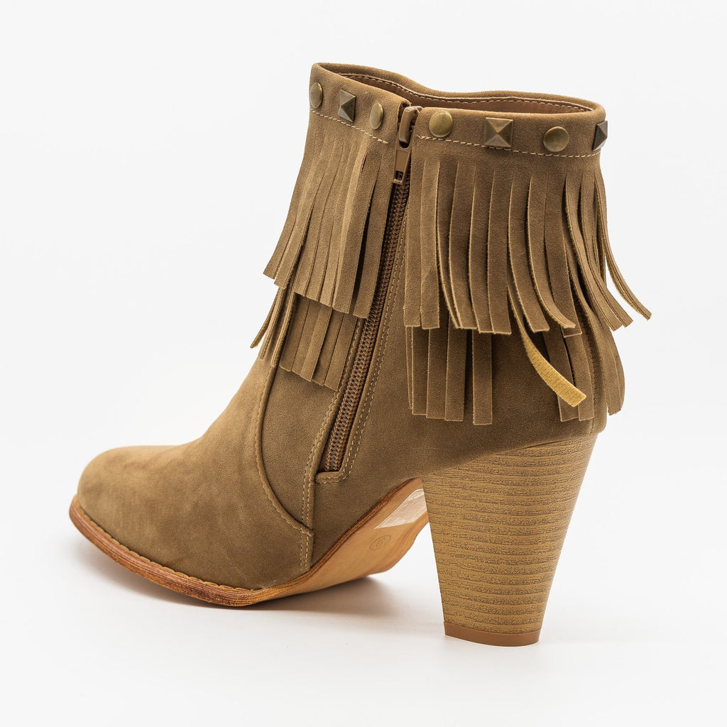 Womens Studded Fringe Fashion Booties - Mi.im