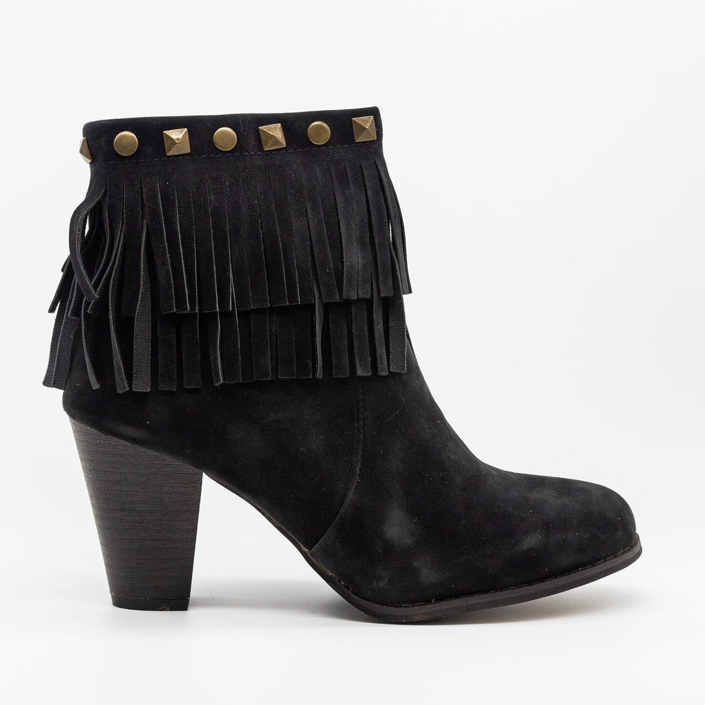 Womens Studded Fringe Fashion Booties - Mi.im - Black / 5