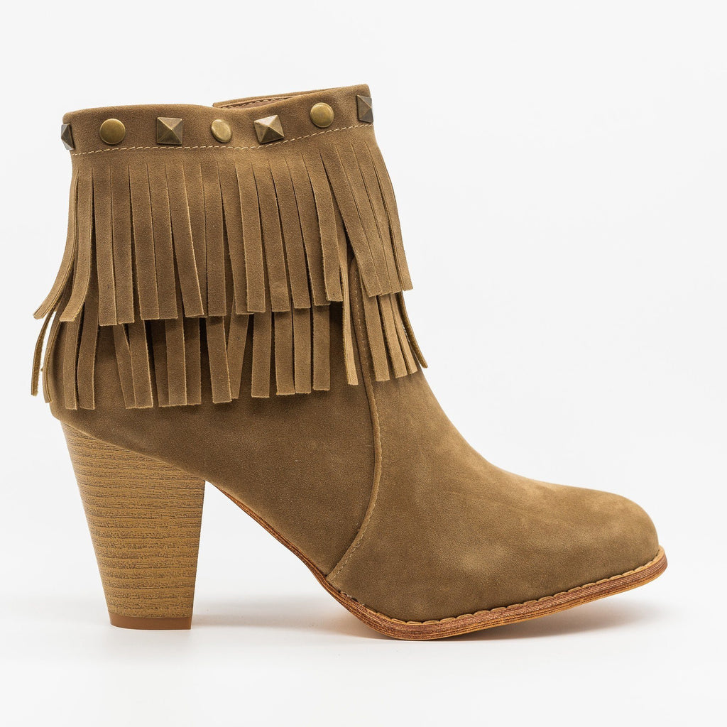 Womens Studded Fringe Fashion Booties - Mi.im - Khaki / 5